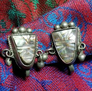 Vintage tribal mask earrings Mexico Sterling 925